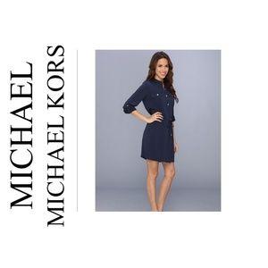 MICHAEL KORS NAVY BLUE BELTED SHIRT DRESS